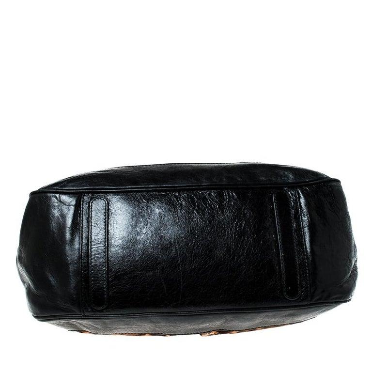 Dolce & Gabanna Black/Brown Leather Miss Romantique Satchel For Sale 1