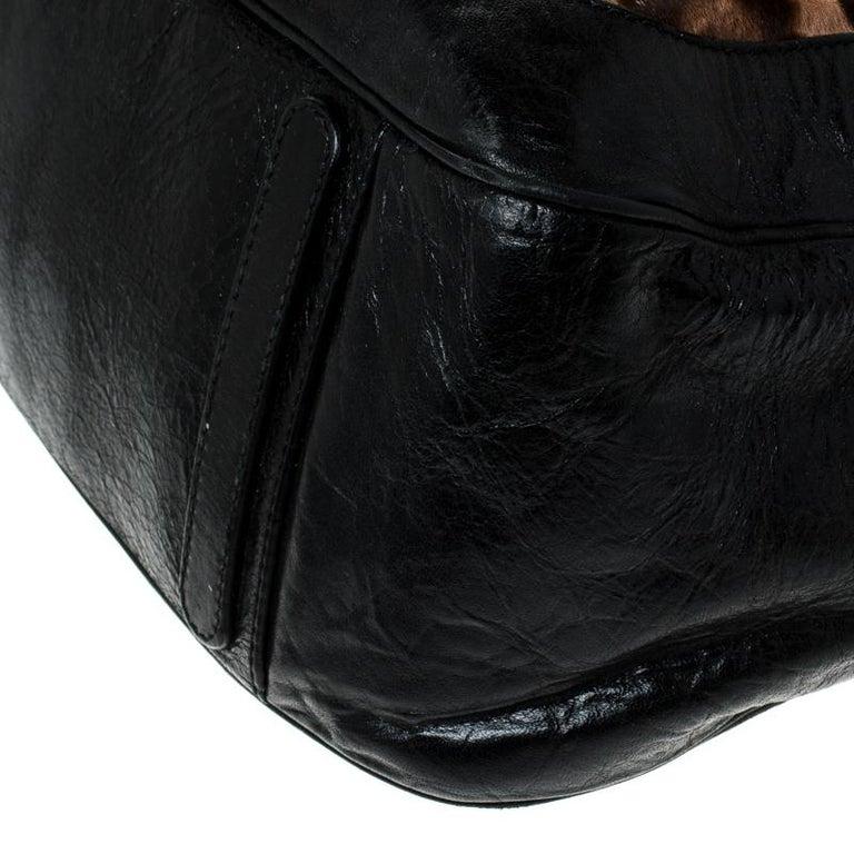 Dolce & Gabanna Black/Brown Leather Miss Romantique Satchel For Sale 5