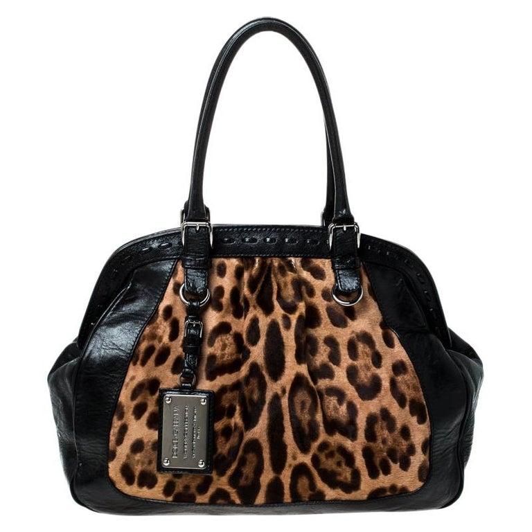 Dolce & Gabanna Black/Brown Leather Miss Romantique Satchel For Sale