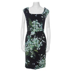 Dolce & Gabanna Black Floral Print Moss Crepe Cap Sleeve Sheath Dress S