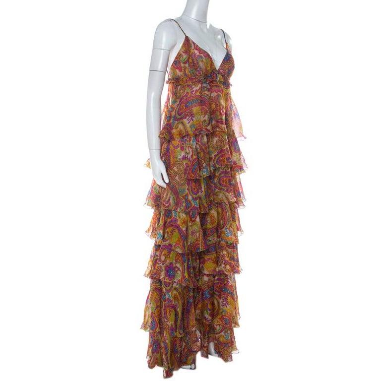 Dolce & Gabanna Multicolor Paisley Print Silk Tiered Ruffle Maxi Dress M In Good Condition For Sale In Dubai, Al Qouz 2