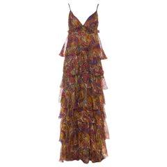 Dolce & Gabanna Multicolor Paisley Print Silk Tiered Ruffle Maxi Dress M