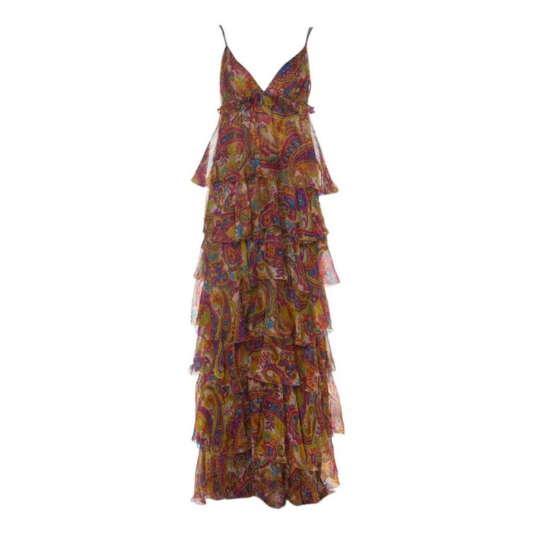 Dolce & Gabanna Multicolor Paisley Print Silk Tiered Ruffle Maxi Dress M For Sale