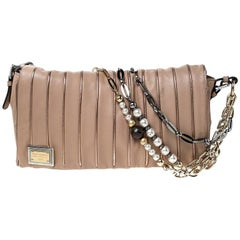 Dolce & Gabanna Nude Beige Stripe Leather Miss Charles Shoulder Bag