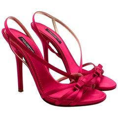 Dolce & Gabanna Pink Satin Strappy Heeled Sandals - Size 36