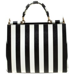 Dolce & Gabanna Striped Leather Dauphine Top Handle Bag