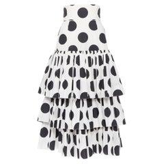 "DOLCE GABBANA 100% cotton black white polka dot tiered flared skirt IT38 26"""