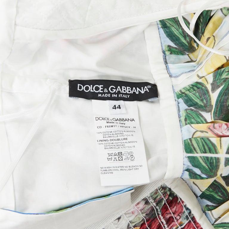 DOLCE GABBANA 100% cotton rose vase floral print corset bustier dress IT44 M For Sale 5