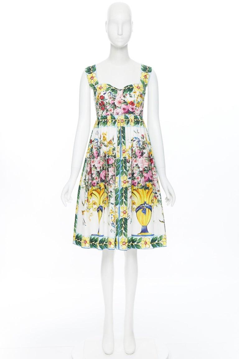 Beige DOLCE GABBANA 100% cotton rose vase floral print corset bustier dress IT44 M For Sale