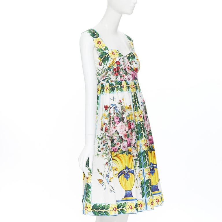 DOLCE GABBANA 100% cotton rose vase floral print corset bustier dress IT44 M In Excellent Condition For Sale In Hong Kong, NT