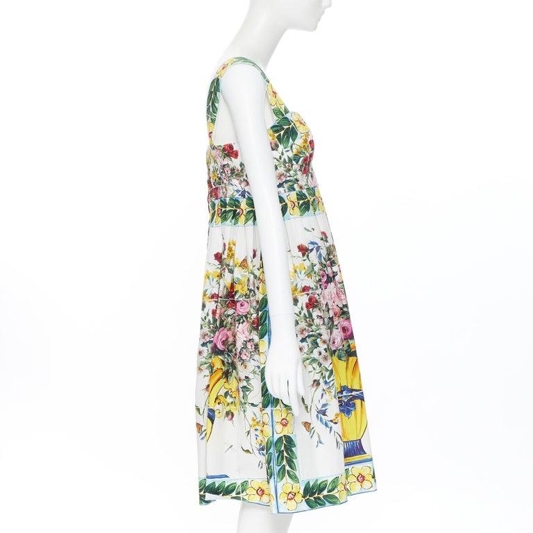 Women's DOLCE GABBANA 100% cotton rose vase floral print corset bustier dress IT44 M For Sale