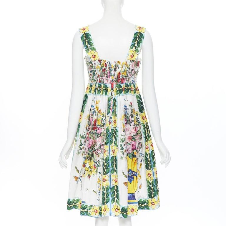 DOLCE GABBANA 100% cotton rose vase floral print corset bustier dress IT44 M For Sale 1