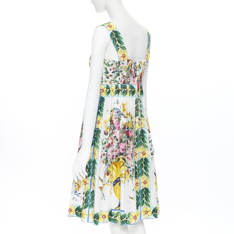 DOLCE GABBANA 100% cotton rose vase floral print corset bustier dress IT44 M For Sale 2