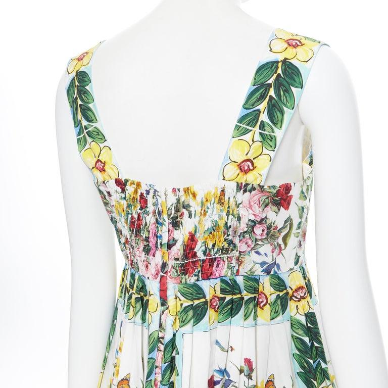 DOLCE GABBANA 100% cotton rose vase floral print corset bustier dress IT44 M For Sale 3