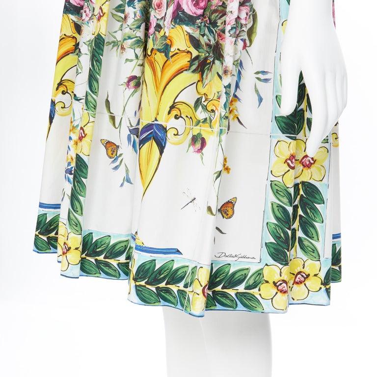 DOLCE GABBANA 100% cotton rose vase floral print corset bustier dress IT44 M For Sale 4