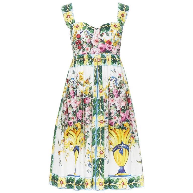 DOLCE GABBANA 100% cotton rose vase floral print corset bustier dress IT44 M For Sale
