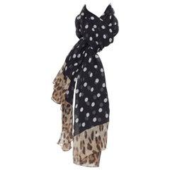 DOLCE GABBANA 100% silk black white polka dot leopard spot print scarf