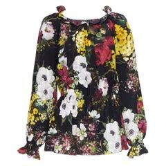 DOLCE GABBANA 100% silk floral print ruffle elasticated waist blouse top IT40