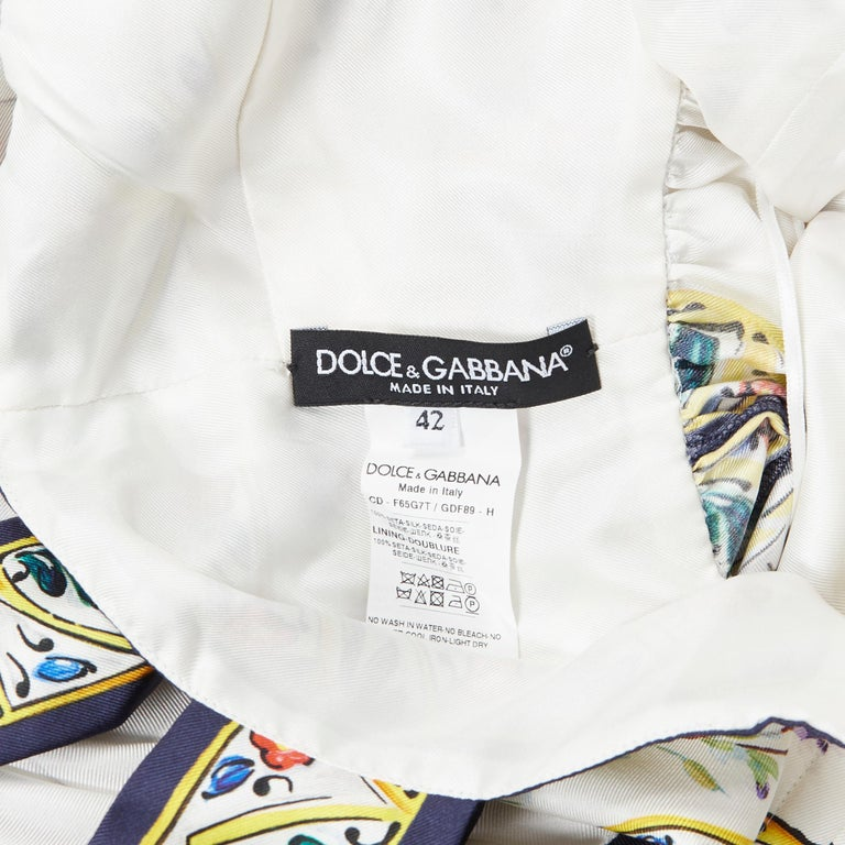 DOLCE GABBANA 100% silk floral vase print handkerchief hem cocktail dress IT42 M For Sale 6