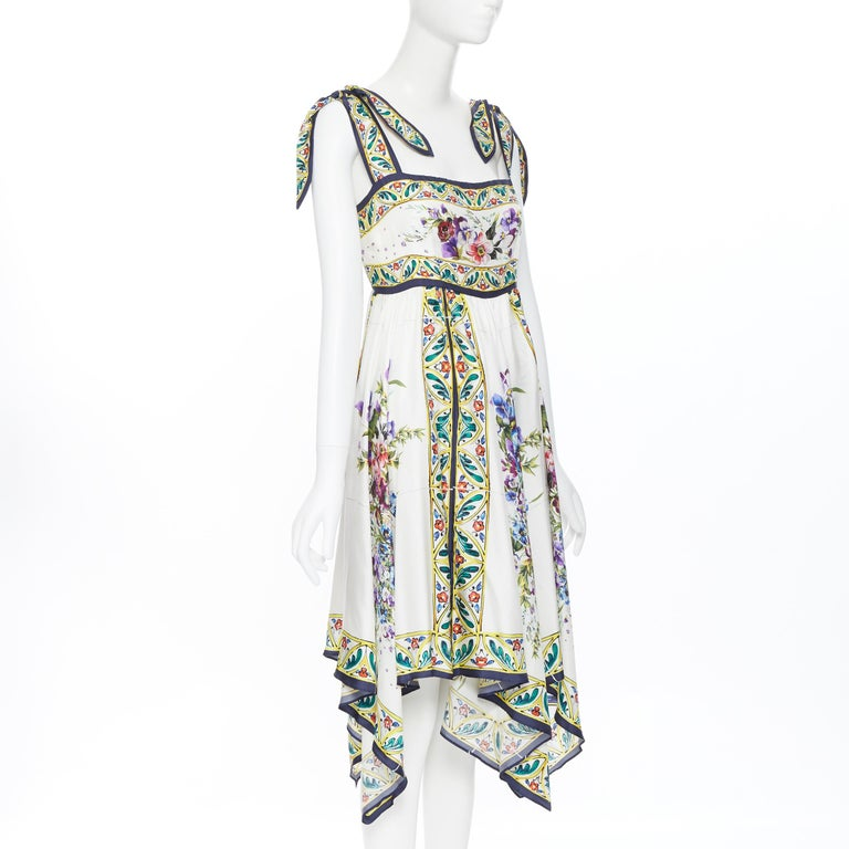 DOLCE GABBANA 100% silk floral vase print handkerchief hem cocktail dress IT42 M In Excellent Condition For Sale In Hong Kong, NT