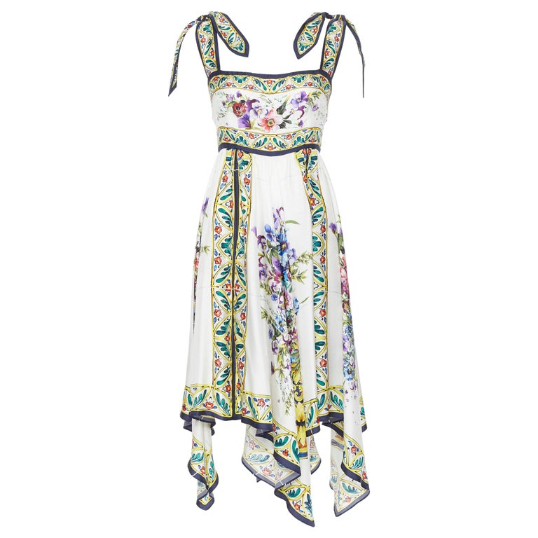 DOLCE GABBANA 100% silk floral vase print handkerchief hem cocktail dress IT42 M For Sale