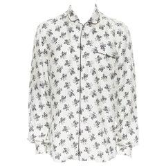 DOLCE GABBANA 100% silk white floral silk print pajama collar casual shirt IT4 M