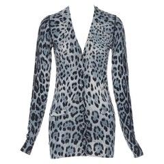 DOLCE GABBANA 100% virgin wool blue grey leopard dual pocket cardigan IT36 S