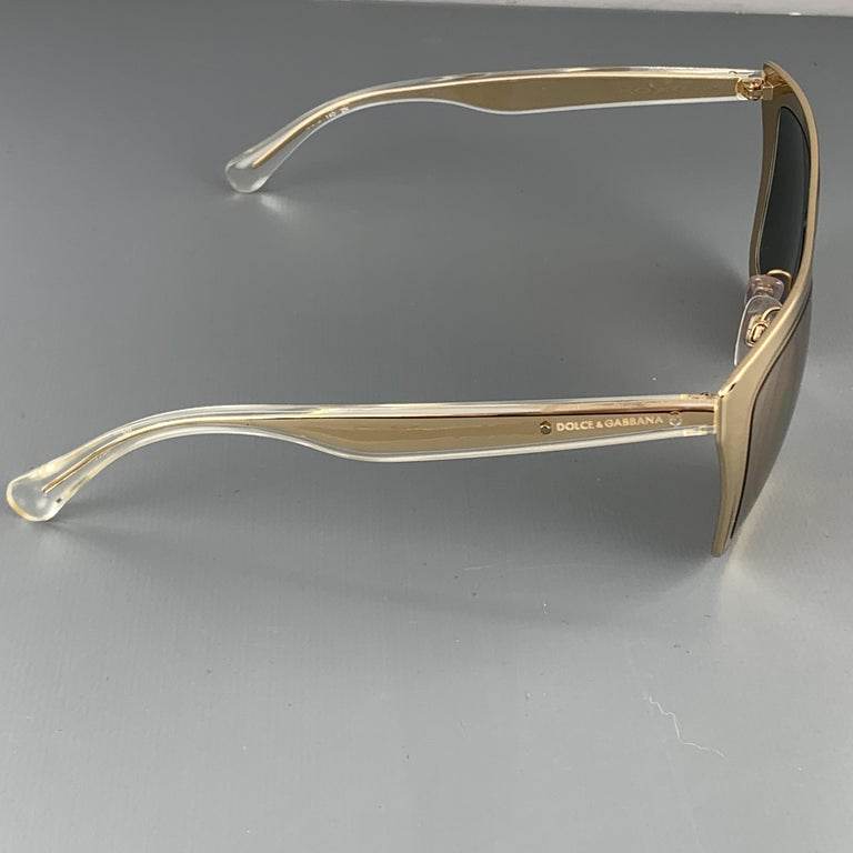 DOLCE & GABBANA 18K Gold Plated Mirrored Metal Sunglasses In Good Condition For Sale In San Francisco, CA