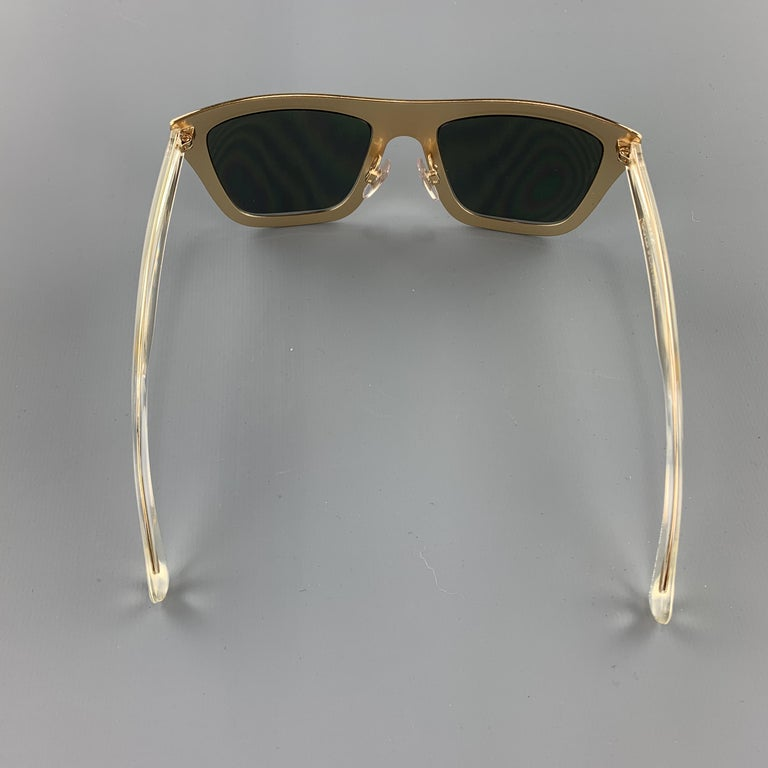 DOLCE & GABBANA 18K Gold Plated Mirrored Metal Sunglasses For Sale 1