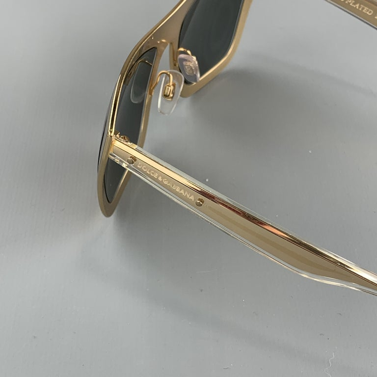 DOLCE & GABBANA 18K Gold Plated Mirrored Metal Sunglasses For Sale 2