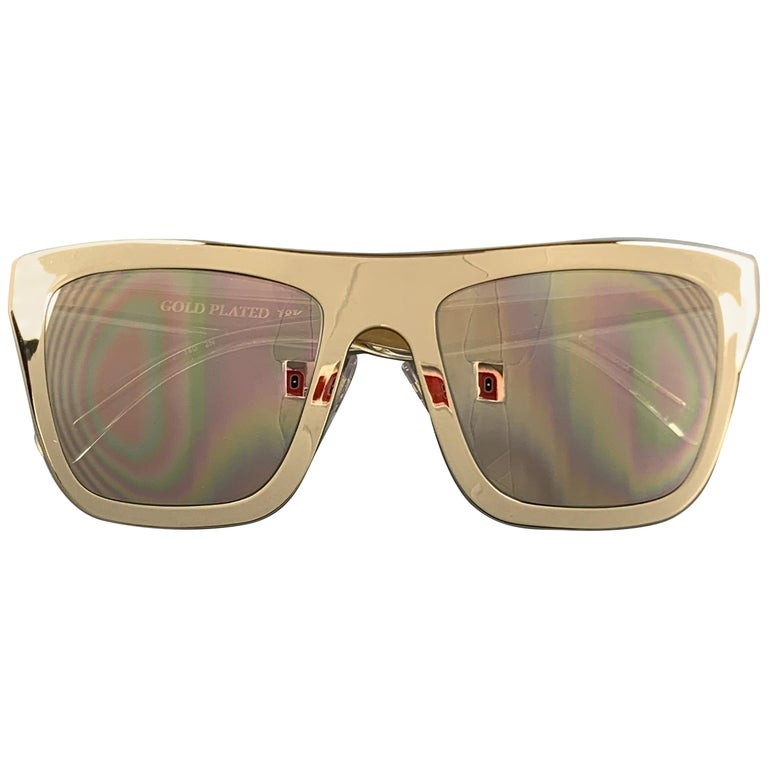 DOLCE & GABBANA 18K Gold Plated Mirrored Metal Sunglasses For Sale