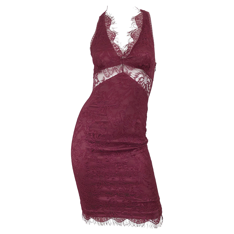 Dolce & Gabbana 1990s Burgundy Merlot Sexy Lace Bodycon Cut Out Vintage Dress 38