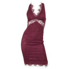 Dolce & Gabbana 1990s Burgundy Merlot Sexy Lace Bodycon Cut Out Vintage Dress 38