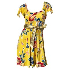 Dolce & Gabbana 1990s Yellow Flower Print Gold Chainlink Belted Babydoll Dress