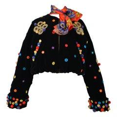 Dolce & Gabbana 1992 Velvet, Applique, and Pom Pon Bomber Runway Jacket