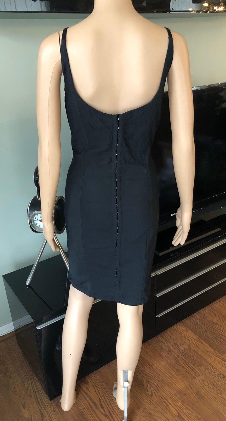 Dolce & Gabbana 1992 Vintage Mesh Trim Corset Satin Bodycon Black Mini Dress For Sale 1