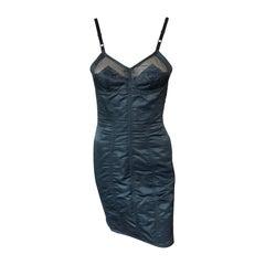 Dolce & Gabbana 1992 Vintage Mesh Trim Corset Satin Bodycon Black Mini Dress