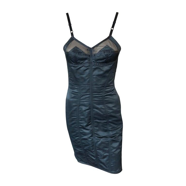 Dolce & Gabbana 1992 Vintage Mesh Trim Corset Satin Bodycon Black Mini Dress For Sale