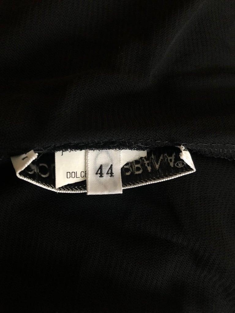 Dolce & Gabbana 1996 Vintage Black Sheer Mesh 2 Piece Set Maxi Dress For Sale 7