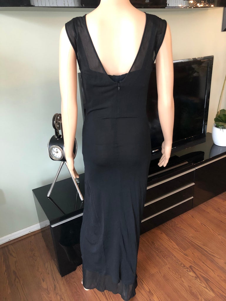 Dolce & Gabbana 1996 Vintage Black Sheer Mesh 2 Piece Set Maxi Dress For Sale 1