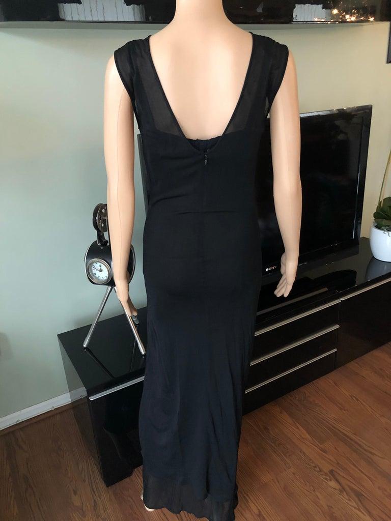 Dolce & Gabbana 1996 Vintage Black Sheer Mesh 2 Piece Set Maxi Dress For Sale 2