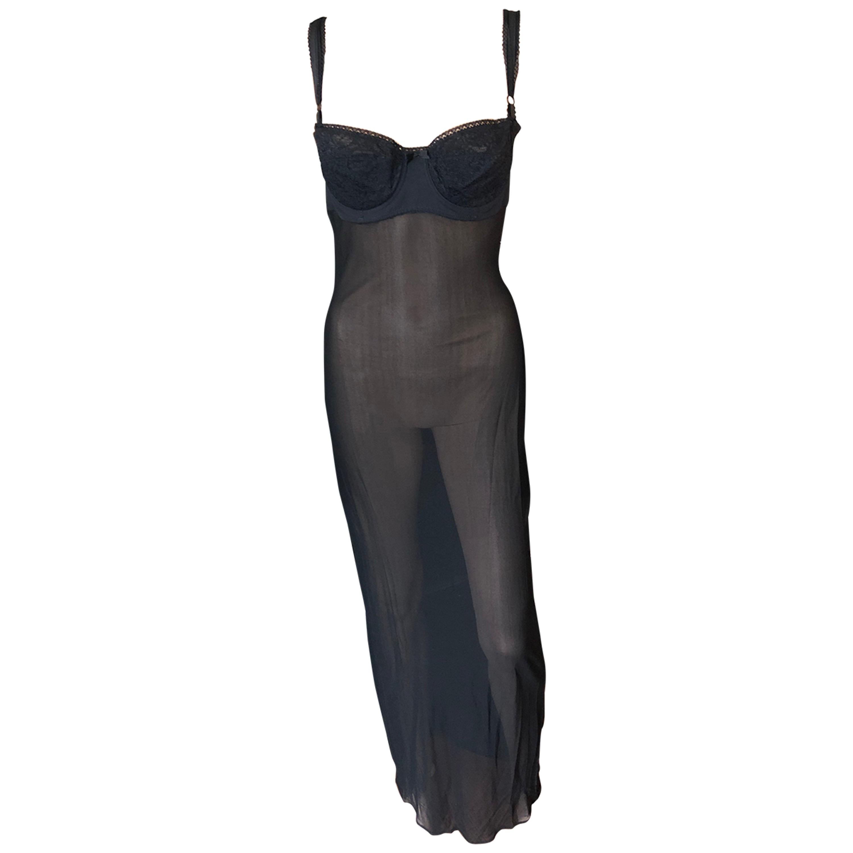 Dolce & Gabbana 1996 Vintage Black Sheer Mesh 2 Piece Set Maxi Dress