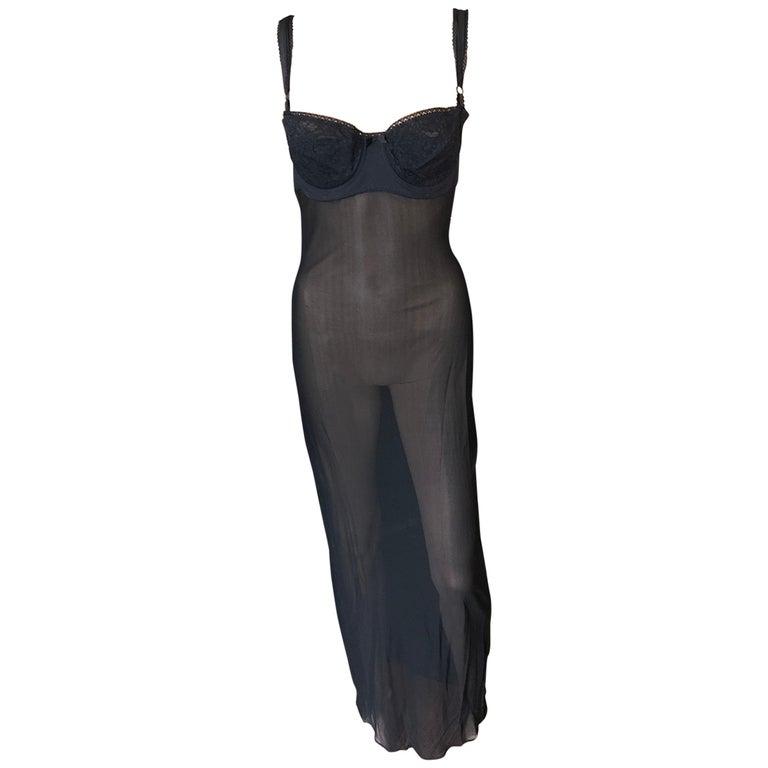 Dolce & Gabbana 1996 Vintage Black Sheer Mesh 2 Piece Set Maxi Dress For Sale