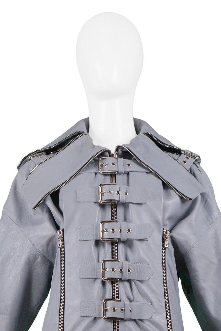 Gray Dolce & Gabbana 2003 Grey Leather Biker Runway Jacket  For Sale