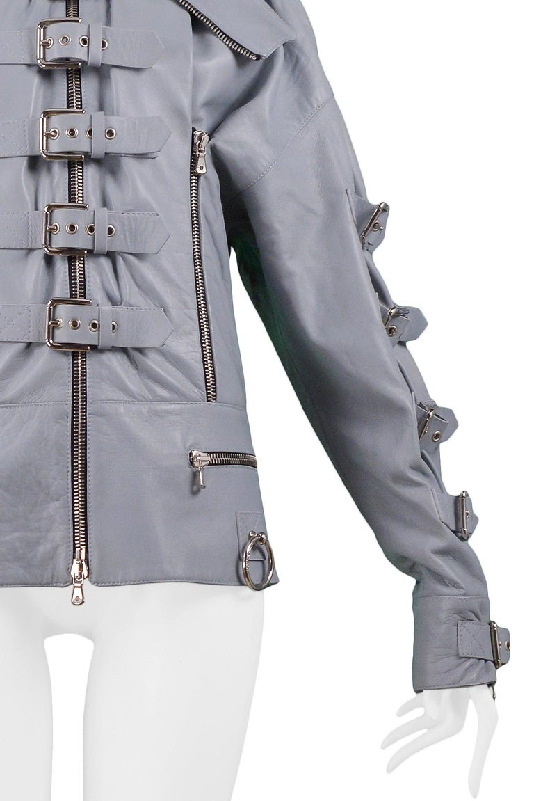 Dolce & Gabbana 2003 Grey Leather Biker Runway Jacket  In Excellent Condition For Sale In Los Angeles, CA
