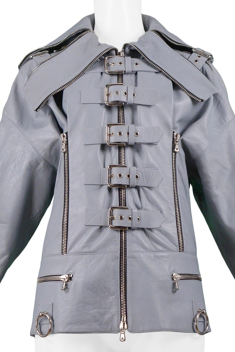 Women's Dolce & Gabbana 2003 Grey Leather Biker Runway Jacket  For Sale