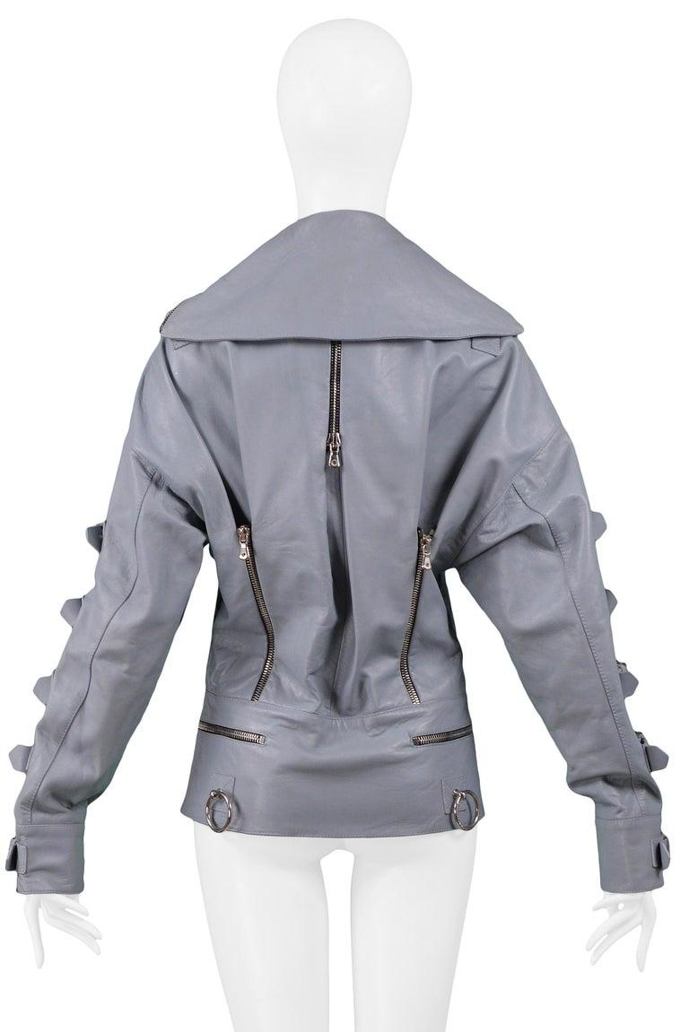 Dolce & Gabbana 2003 Grey Leather Biker Runway Jacket  For Sale 1