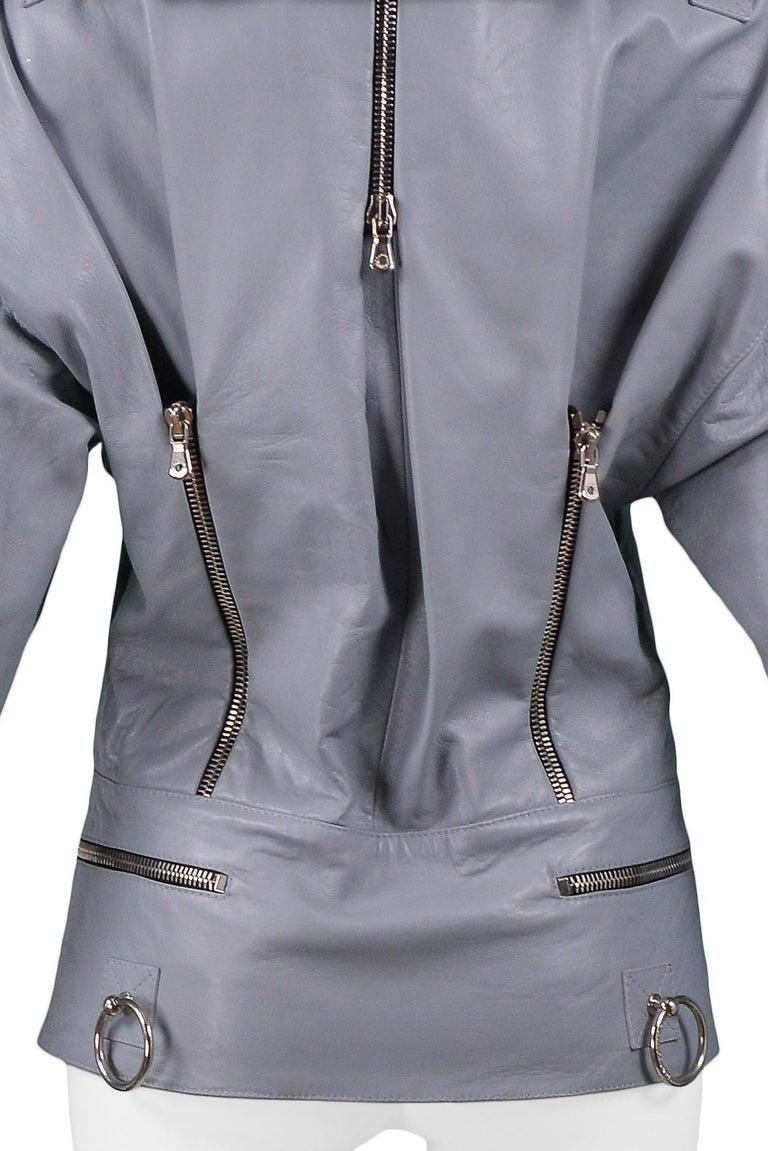 Dolce & Gabbana 2003 Grey Leather Biker Runway Jacket  For Sale 2