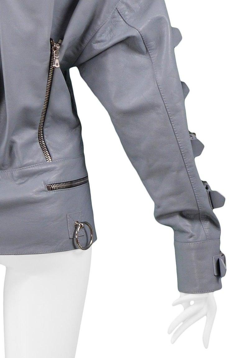 Dolce & Gabbana 2003 Grey Leather Biker Runway Jacket  For Sale 3