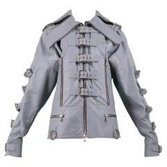 Dolce & Gabbana 2003 Grey Leather Biker Runway Jacket